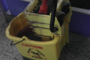A mop in a mop bucket